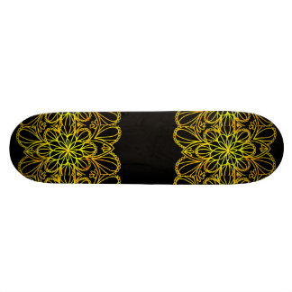 Yellow Leaves Mandala on Dark Board Skateboard