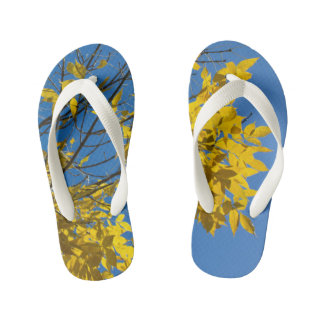 Yellow Leaves on Fall Tree Kid's Flip Flops