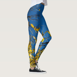Yellow Leaves on Fall Tree Leggings
