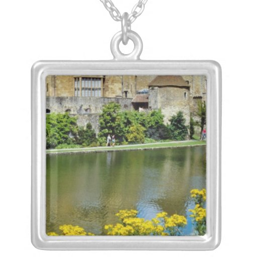 yellow Leeds Castle, Kent, England flowers Custom Necklace