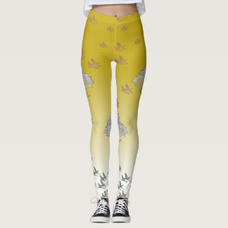 Yellow Legging with grey trees and birds