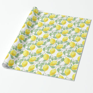 Yellow Lemon and Sage Green Vines Gift Wrap