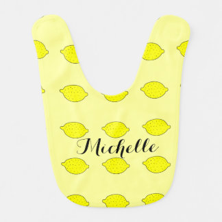 Yellow lemon baby bib personalized with name
