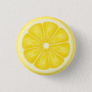 Yellow Lemon Citrus Fruit Slice 3 Cm Round Badge