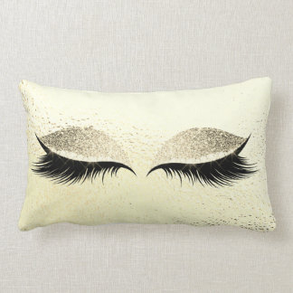 Yellow Lemon Glitter Black Lashes Glam Makeup Gold Lumbar Cushion