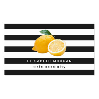 Yellow Lemon Logo with Classic Black White Stripes Pack Of Standard Business Cards