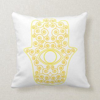 Yellow Lemon Outline Hamsa-Hand of Miriam-Hand of Cushion