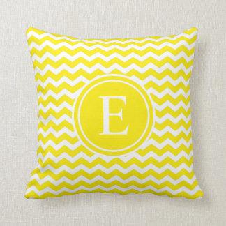 Yellow Lemon Personalized Chevron Monogram Cushion