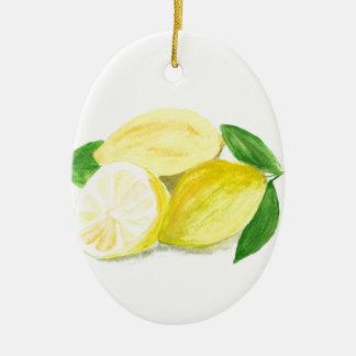 Yellow Lemon print art fruit watercolour Ceramic Oval Decoration