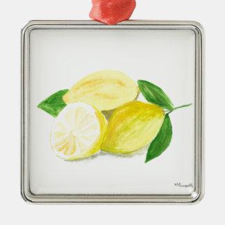 Yellow Lemon print art fruit watercolour Christmas Ornament