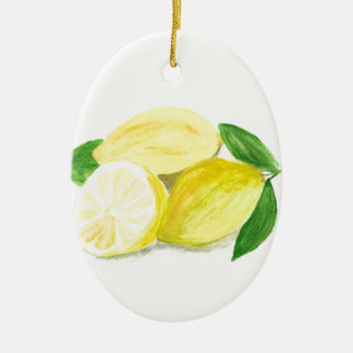 Yellow Lemon print art fruit watercolour Christmas Ornament