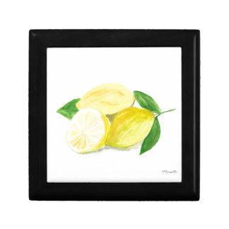 Yellow Lemon print art fruit watercolour Gift Box