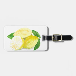 Yellow Lemon print art fruit watercolour Luggage Tag