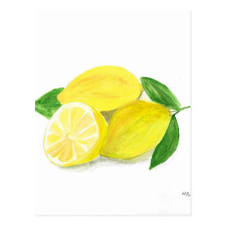 Yellow Lemon print art fruit watercolour Postcard