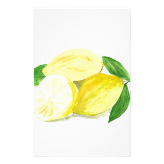 Yellow Lemon print art fruit watercolour Stationery