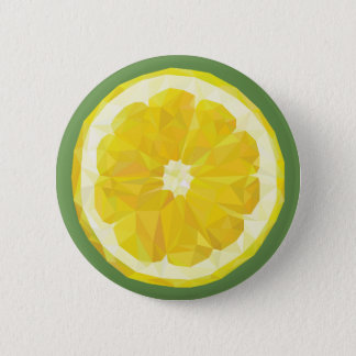 Yellow lemon slice button. 6 cm round badge