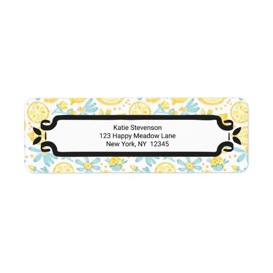 Yellow Lemons & Blue Flowers Illustrated Pattern Return Address Label