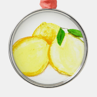 Yellow lemons fruits Silver-Colored round decoration