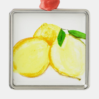 Yellow lemons fruits Silver-Colored square decoration