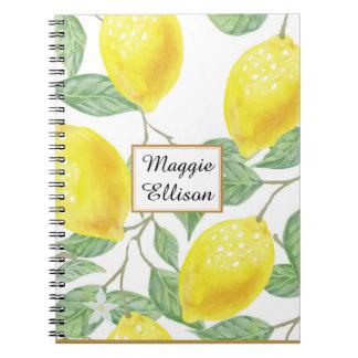 Yellow Lemons Green Leaves on White Custom Spiral Notebook