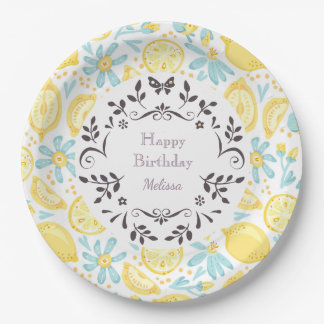 Yellow Lemons & Pastel Blue Flowers Happy Birthday 9 Inch Paper Plate