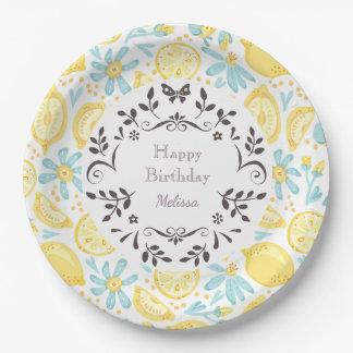 Yellow Lemons & Pastel Blue Flowers Happy Birthday Paper Plate