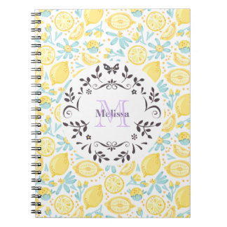 Yellow Lemons & Pastel Blue Flowers Monogram Name Spiral Notebooks
