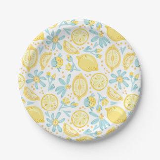 Yellow Lemons & Pastel Blue Flowers Pattern 7 Inch Paper Plate