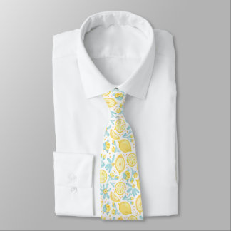 Yellow Lemons & Pastel Blue Flowers Pattern Tie