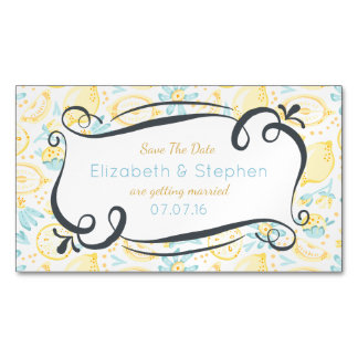 Yellow Lemons & Pastel Blue Flowers Save The Date Magnetic Business Cards