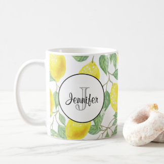 Yellow Lemons with Green Leaves Pattern Monogram Coffee Mug