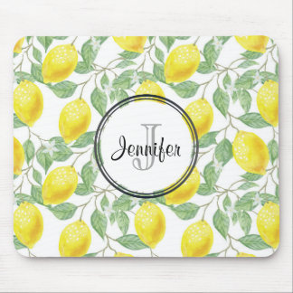 Yellow Lemons with Green Leaves Pattern Monogram Mouse Mat