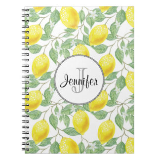 Yellow Lemons with Green Leaves Pattern Monogram Spiral Notebook