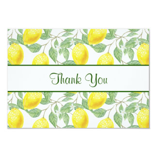 Yellow Lemons with Green Leaves Pattern Thank You Card