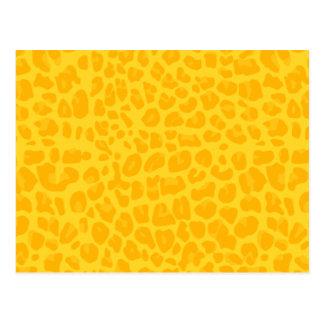 Yellow leopard print pattern postcard