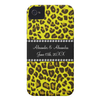 Yellow leopard wedding favors iPhone 4 Case-Mate cases