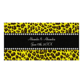 Yellow leopard wedding favors photo card