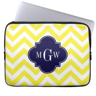Yellow Lg Chevron Navy Quatrefoil 3 Monogram Computer Sleeves