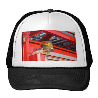 yellow light on fire truck trucker hat