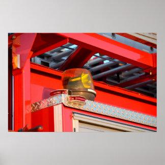 yellow light on fire truck poster
