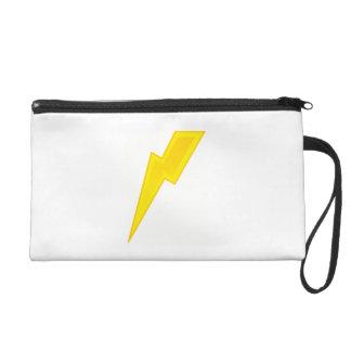 Yellow Lightning Bolt Wristlet