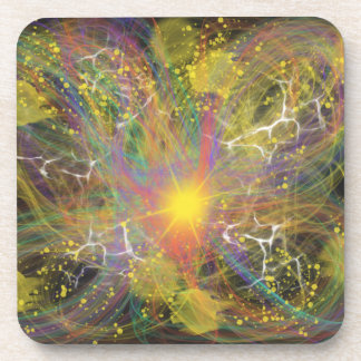 Yellow lightning Star Abstract Art Painting Design Coaster