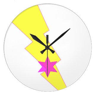 Yellow Lightning Thunder Pink Star Wall Clock