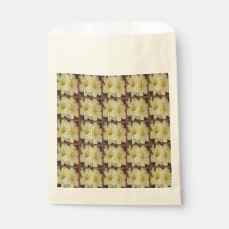 Yellow Lilies Brown Squares Mosaics Favor Bags Favour Bags