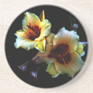 Yellow Lilies Glow Beverage Coasters