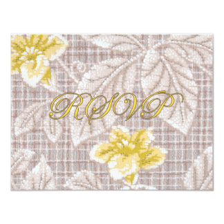 Yellow Lillies Antique Wallpaper RSVP 4.25x5.5 Paper Invitation Card