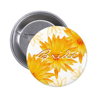 Yellow lillies - wedding name tags customizable button