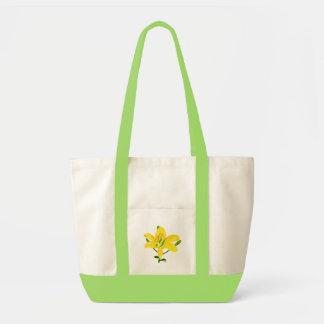 Yellow Lily, Bridesmaid monogram tote bags