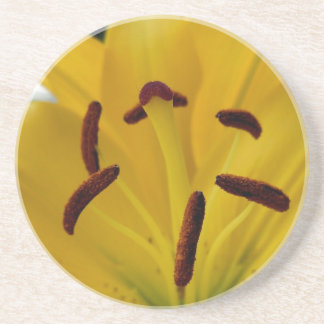 Yellow Lily Curved Petals Drink Coaster