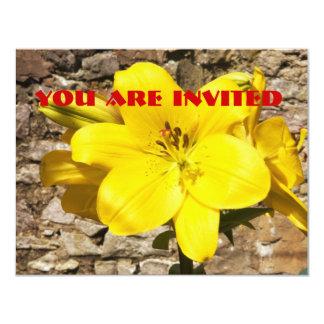 "Yellow Lily invitations. 4.25"" X 5.5"" Invitation Card"